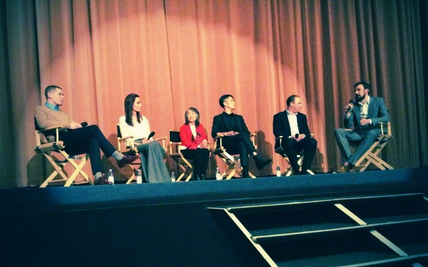 Jack O'Connell, Angelina Jolie, and Miyavi on a panel hosted by Robbie Collins. Shame about the film.